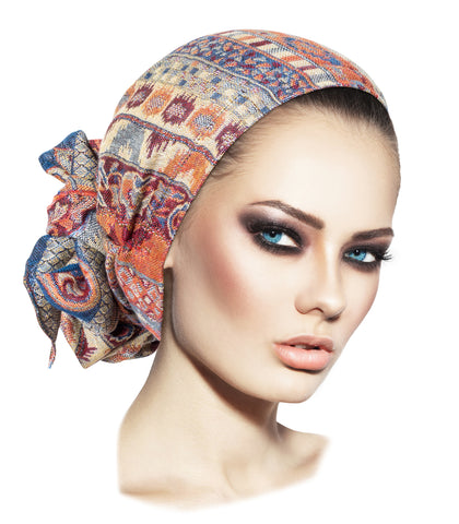 Long navy beige cashmere headscarf