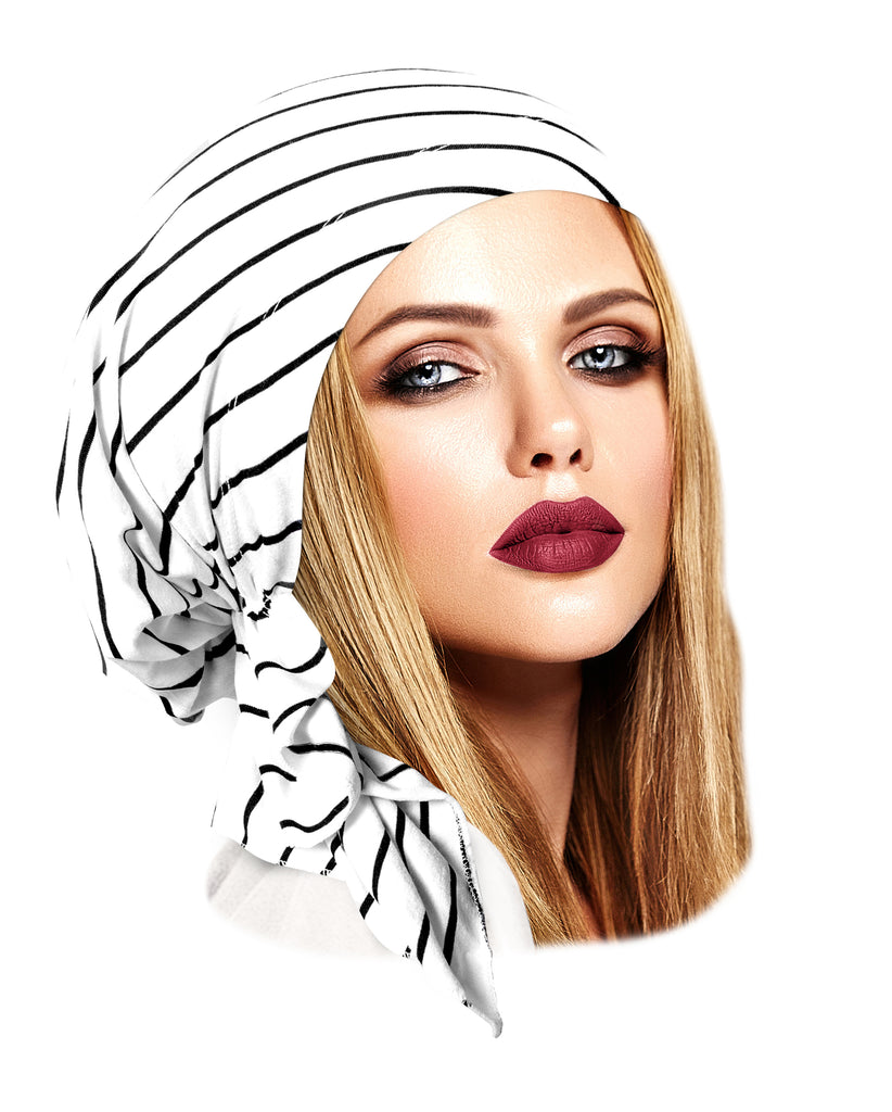 White soft cotton pre-tied headscarf black stripes