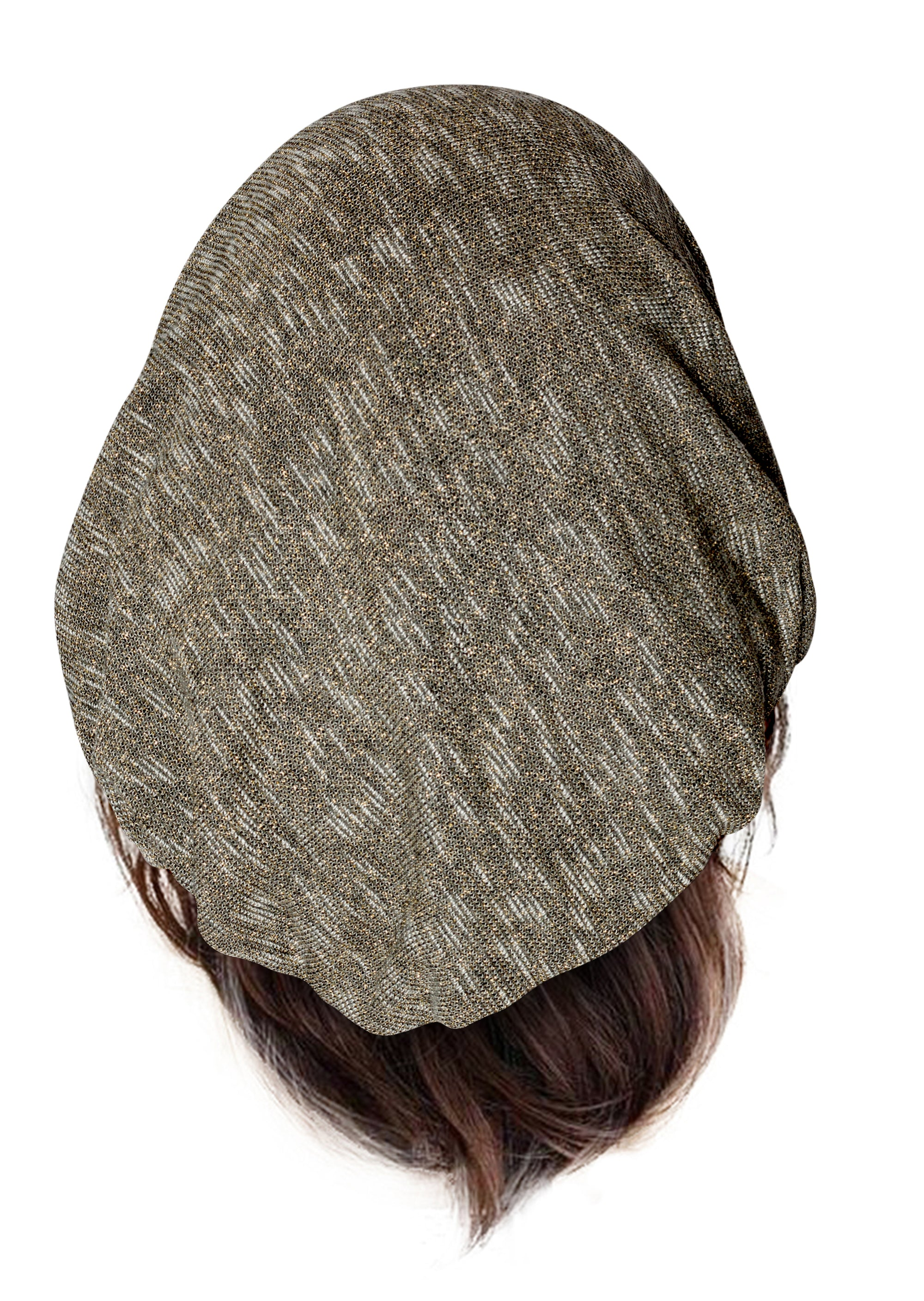 Soft long pre tied knit headscarf dark gray with gold sparkles