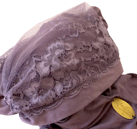 Lavender pre tied headscarf vintage lace