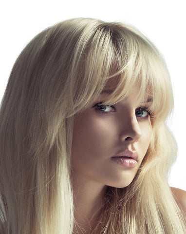 Clip in bangs hair extension mini wig 100% real human (Warm blonde)