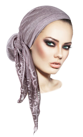 Long lavender pre-tied headscarf peacock