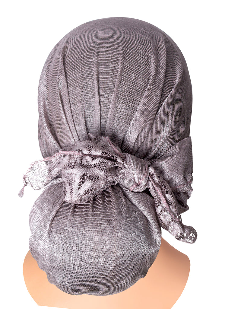 Long lavender pre-tied headscarf peacock feather