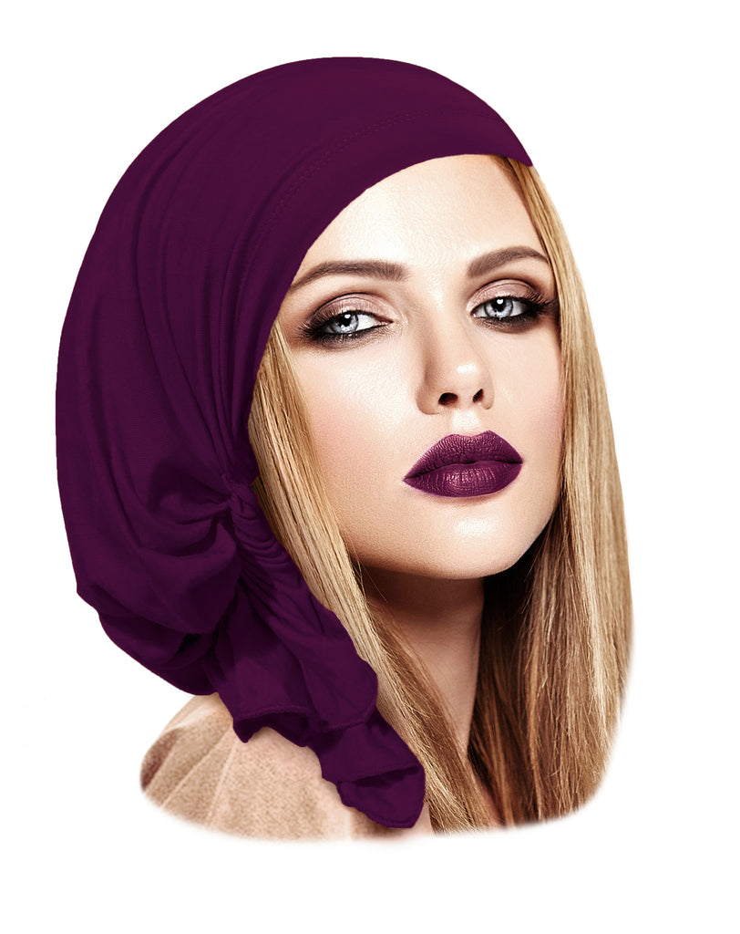 Soft cotton pre-tied headscarf in merlot