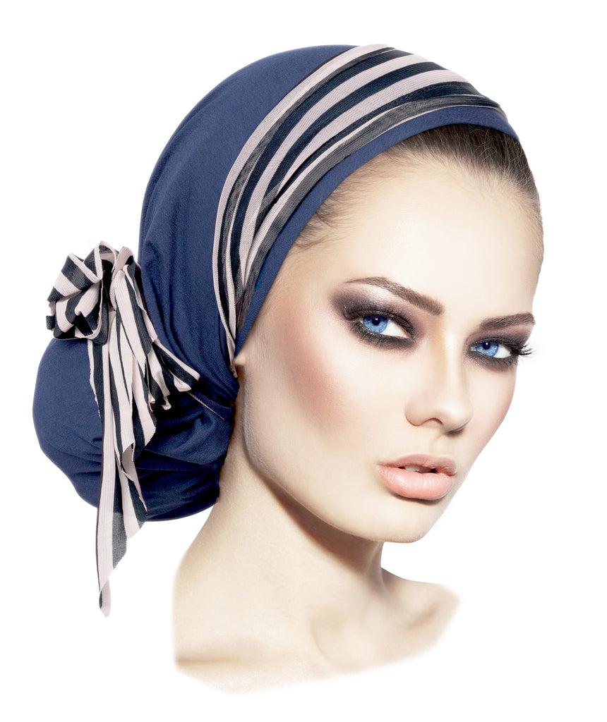 Navy Blue Pre Tied Bandana Headscarf Long Stripe Wrap