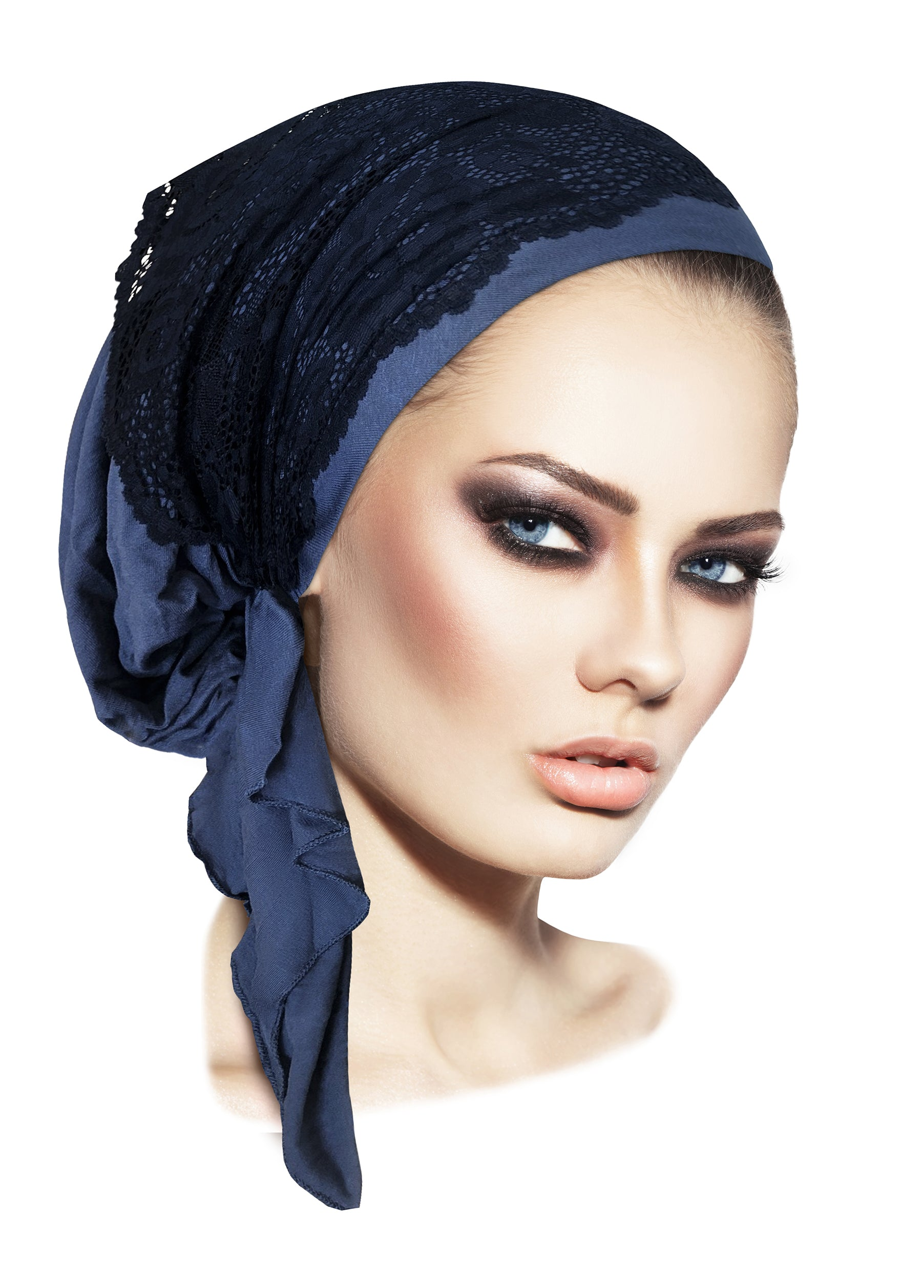 Navy blue pre-tied headscarf with wide floral lace