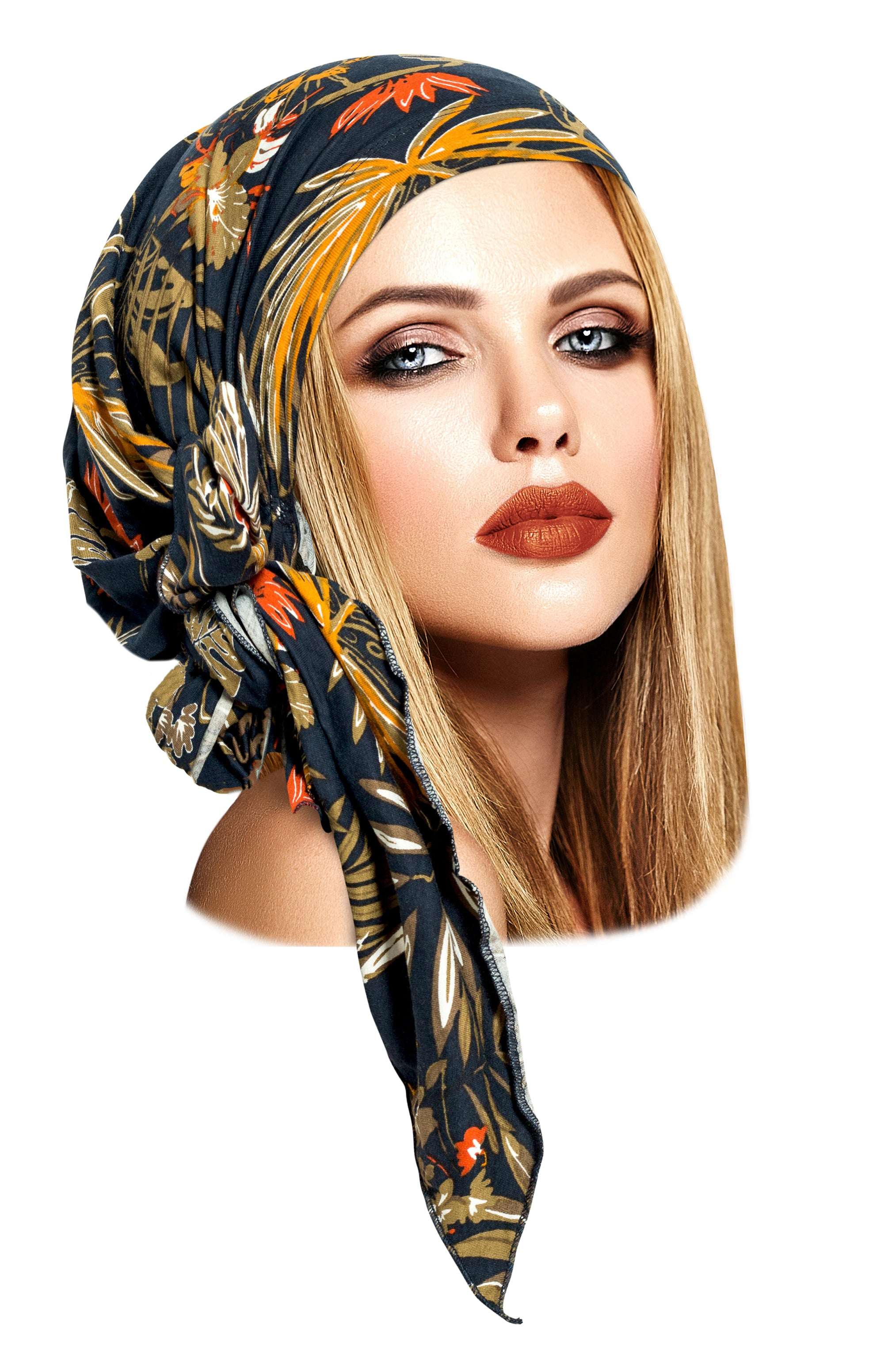 Long navy blue tropical print pre-tied headscarf