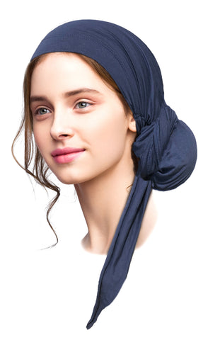 Navy blue long soft cotton headscarf