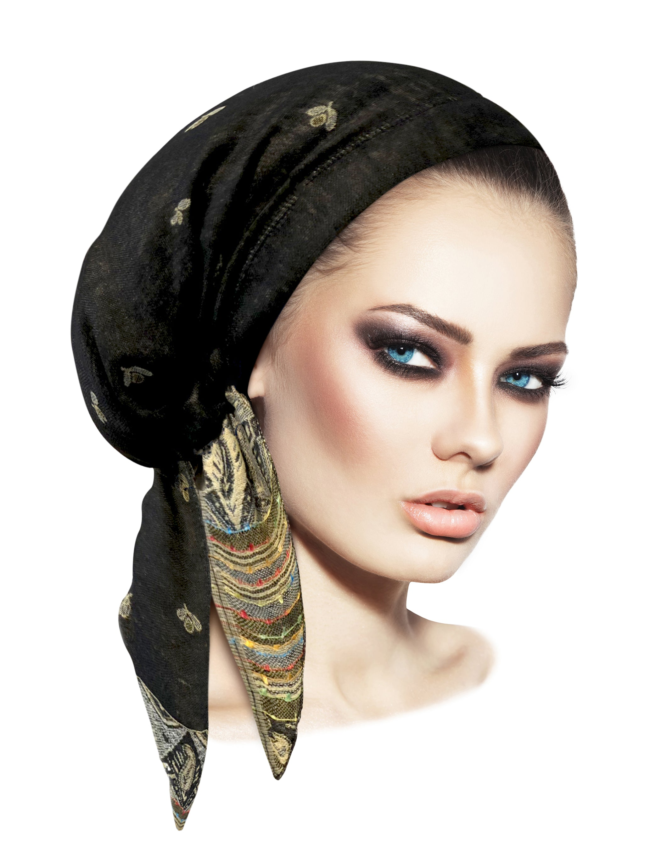 Boho chic black cashmere headscarf