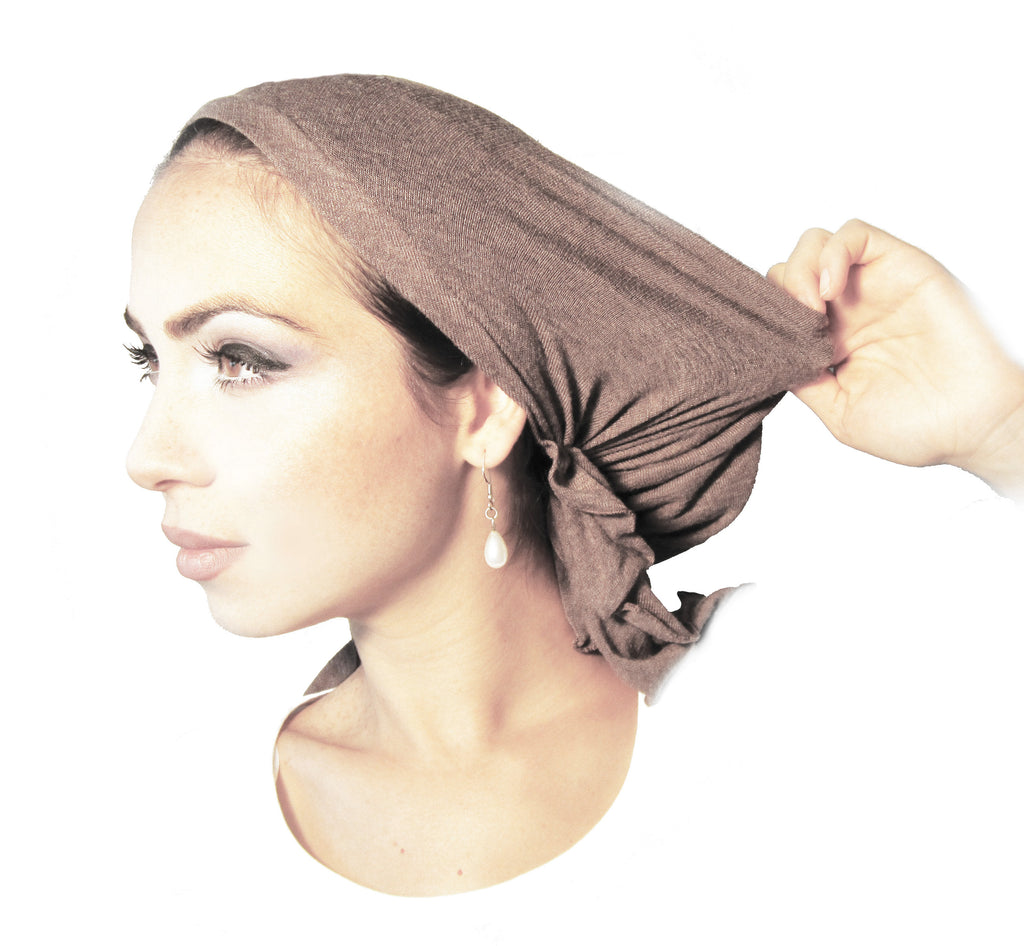 Non-slip beige velour headband for wigs & headscarves