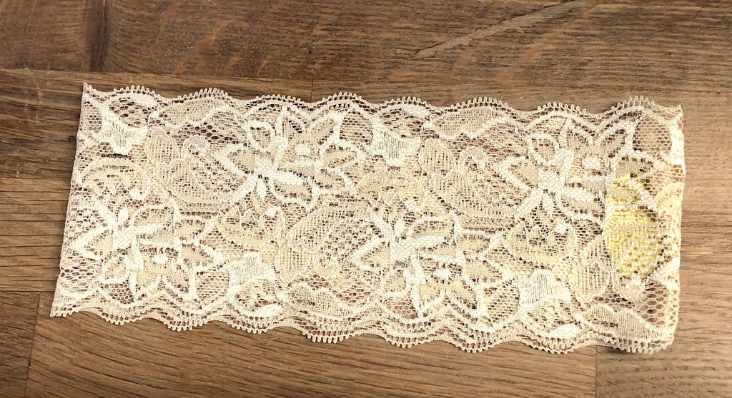 Nude beige floral lace headband