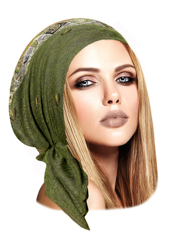 Boho chic olive green cashmere headscarf