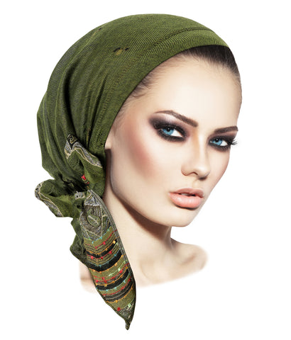 Olive Green Pre-tied Headscarf in our Ethnic Print Collection
