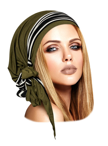 Long olive green boho chic headscarf with black & white stripe wrap