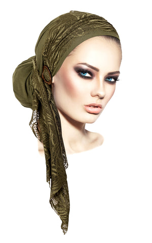 Olive green headscarf boho chic lace & coconut buckle