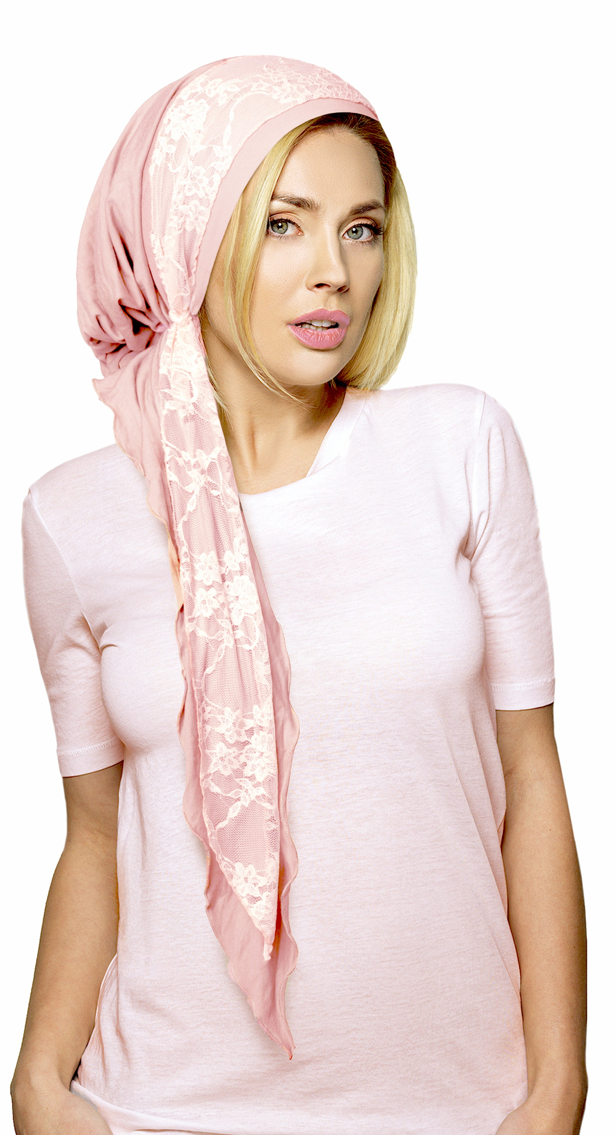 Champagne pink pre-tied headscarf with vintage lace