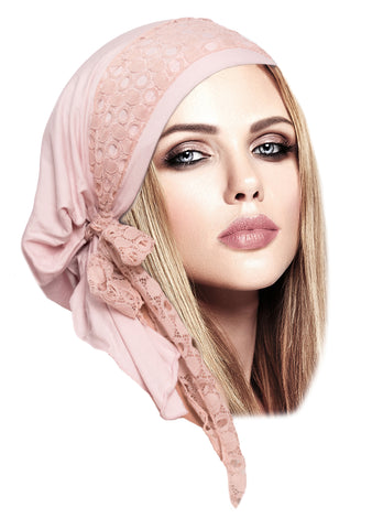 Champagne pink headscarf with pink boho chic lace