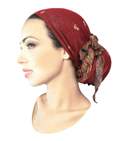 Boho chic long cashmere headscarf in burnt sienna red