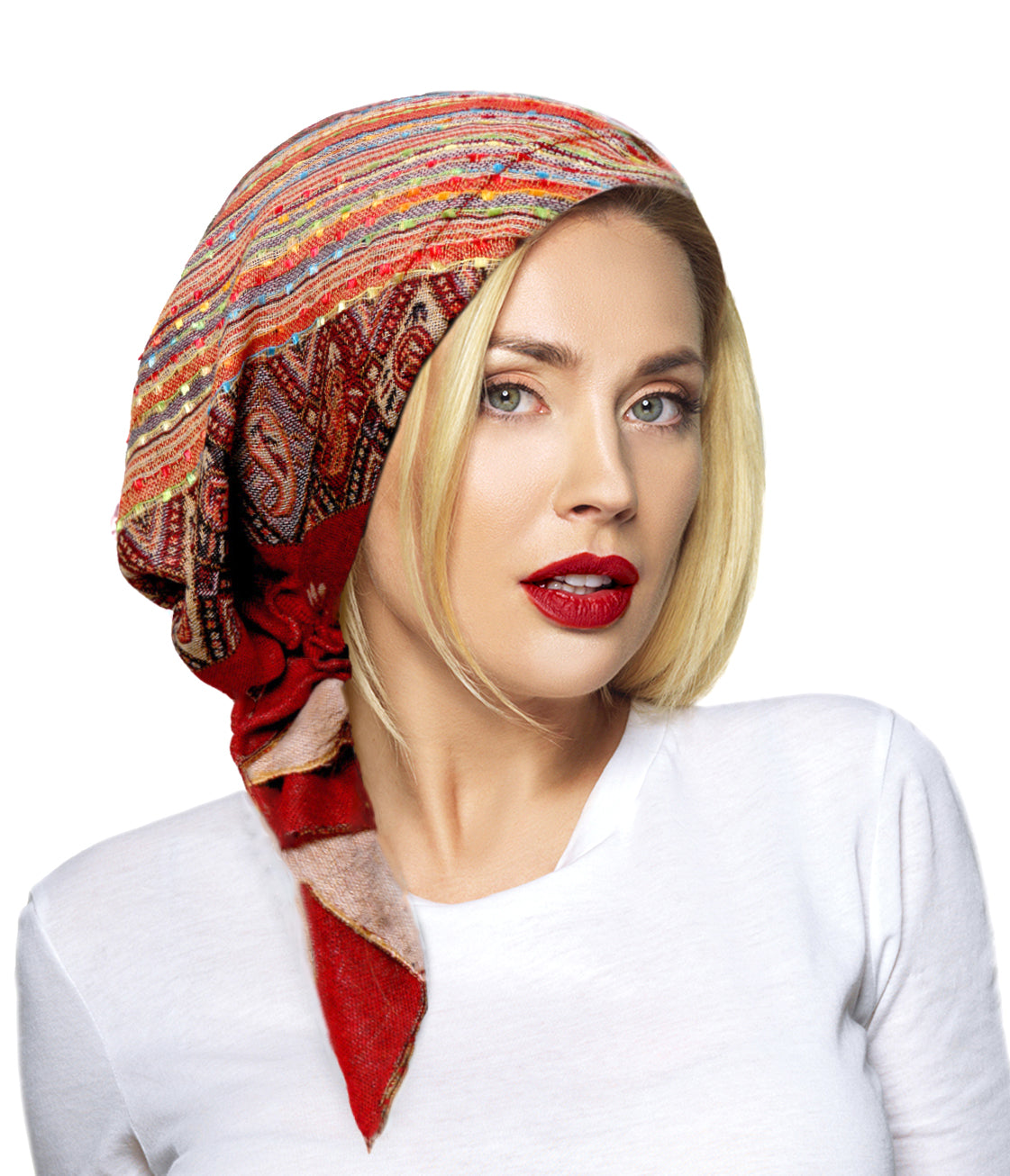 Boho chic cashmere headscarf in burnt sienna red