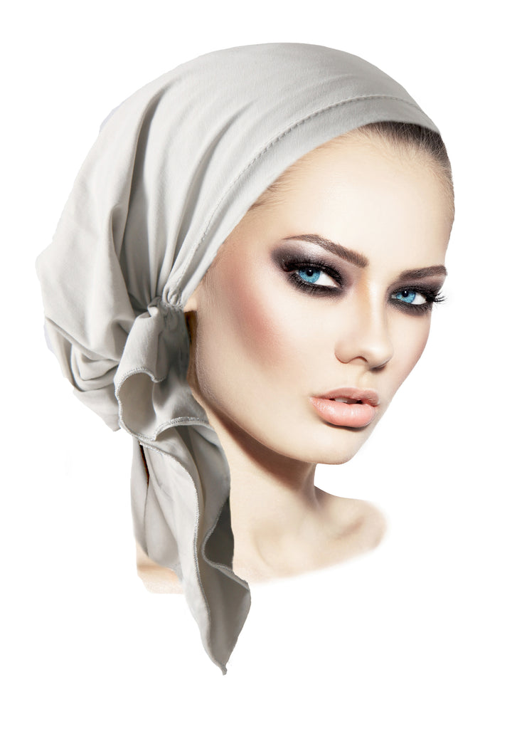 Gray silver soft cotton pre-tied headscarf
