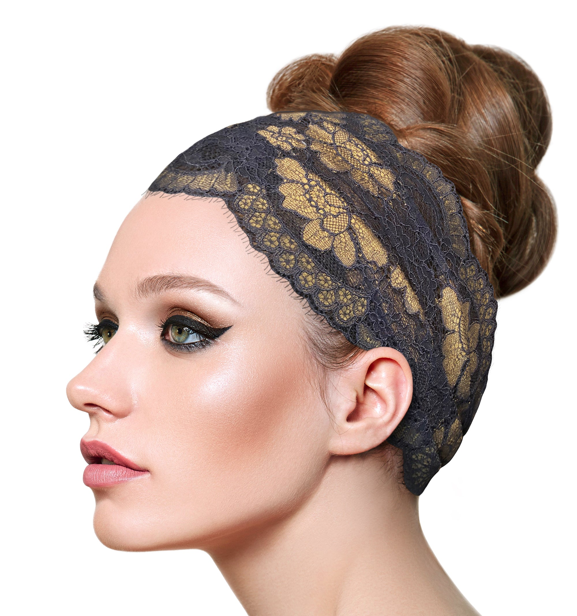 Slate blue gold floral lace headband