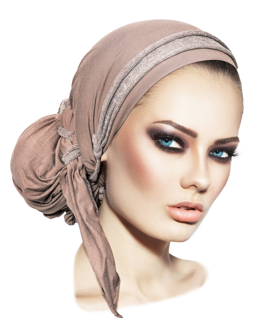 Beige pre-tied headscarf sparkly knit wrap