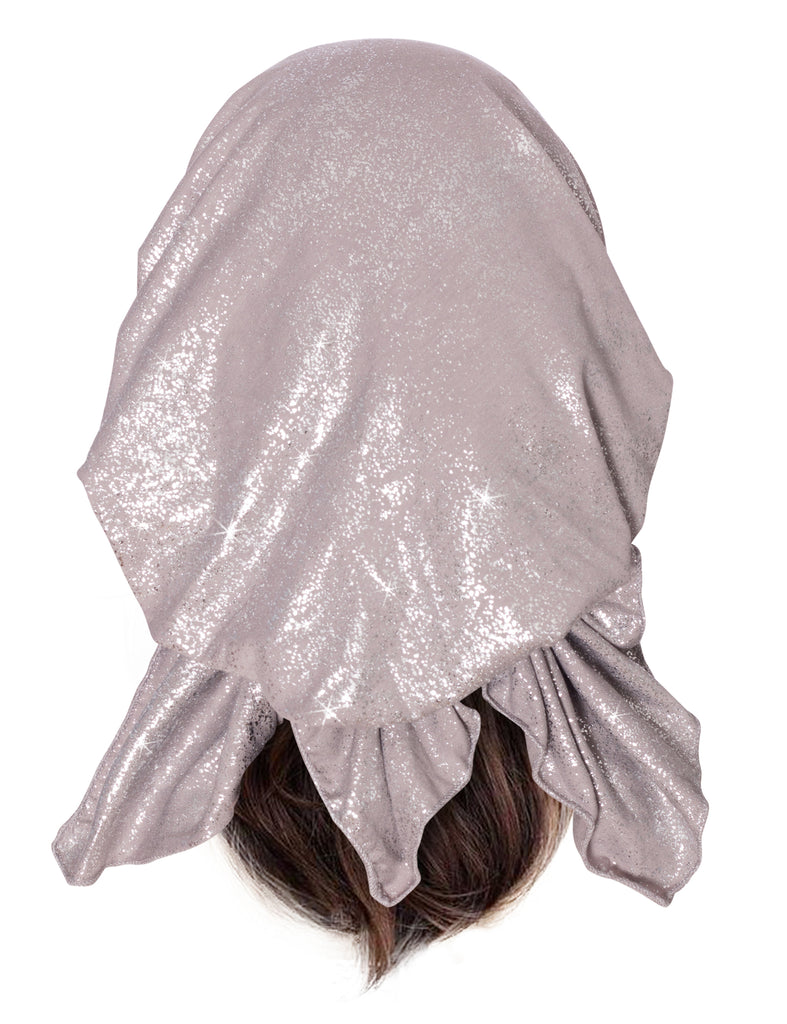 Taupe pre-tied headscarf with speckle sparkle