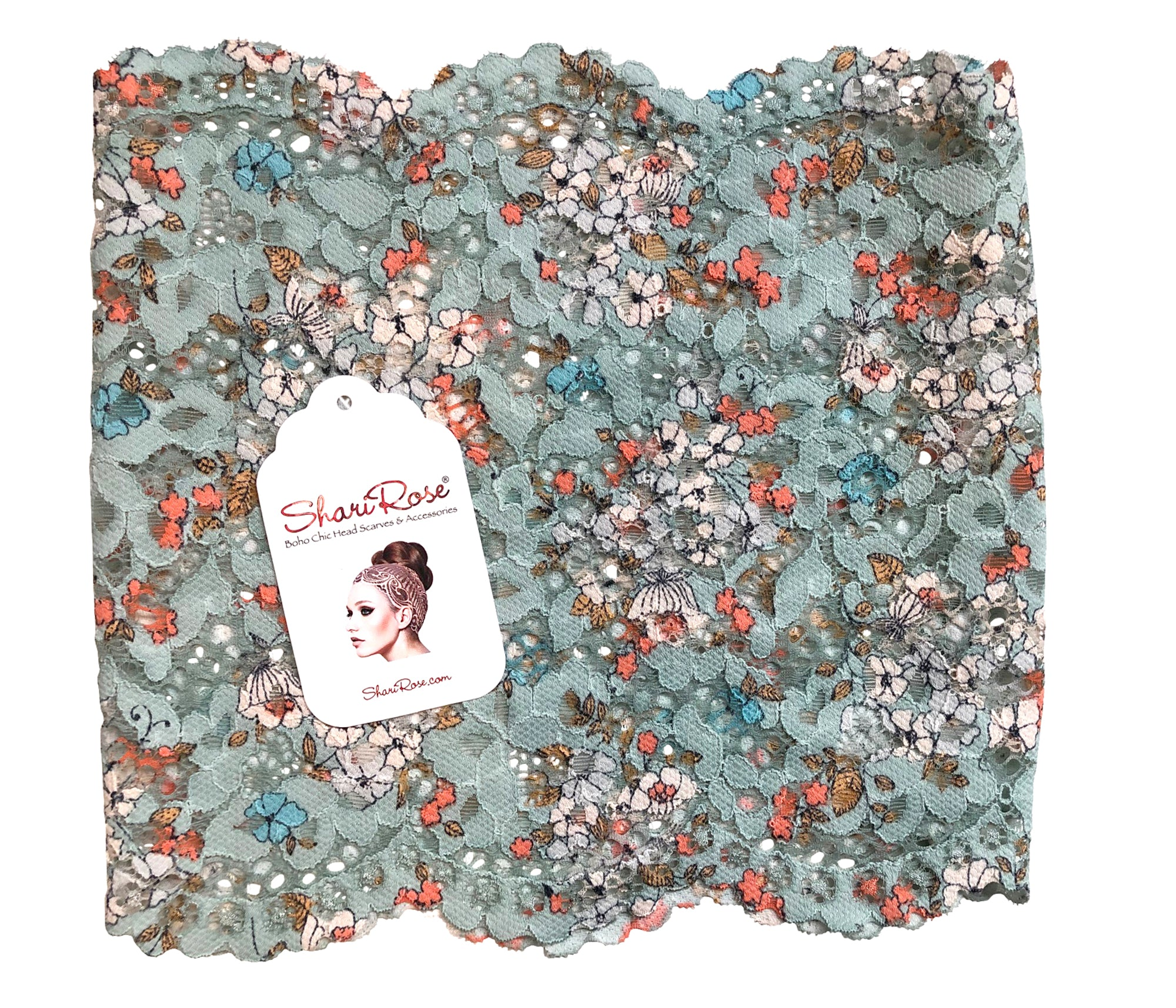 Stunning hippie chic teal floral lace headband