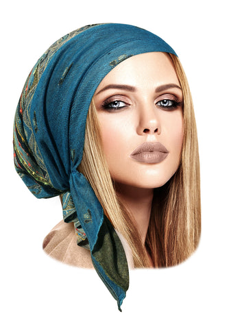 Teal Pre-Tied Headscarf Cashmere Pashima Ethnic Print Collection