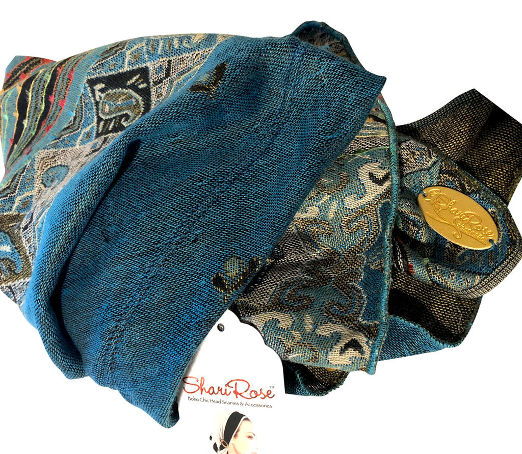 Turquoise cashmere long headscarf in pashmina