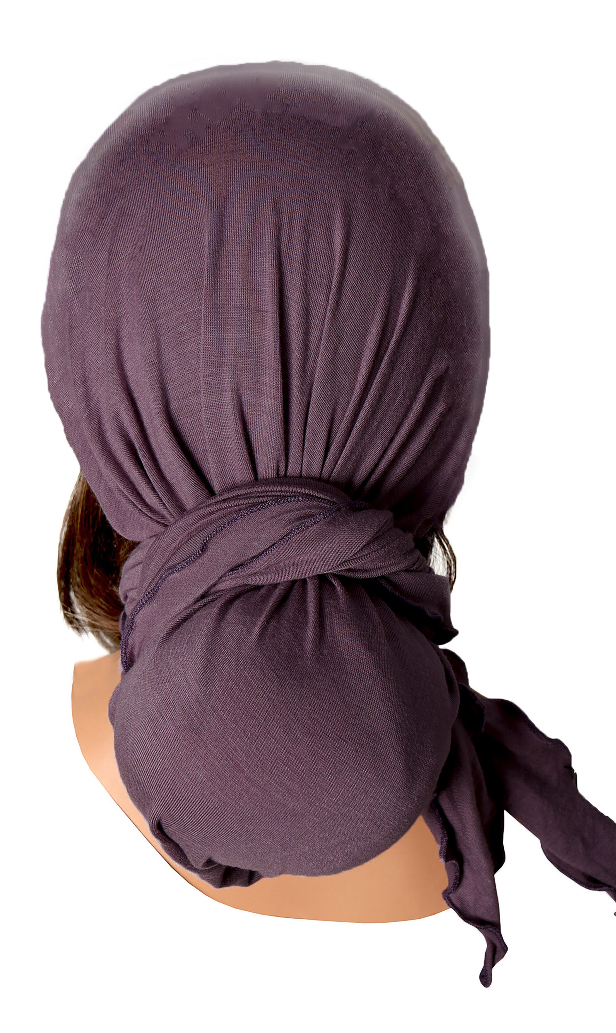 Long vintage lavender cotton headscarf