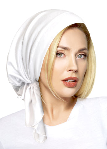 White soft cotton pre-tied headscarf