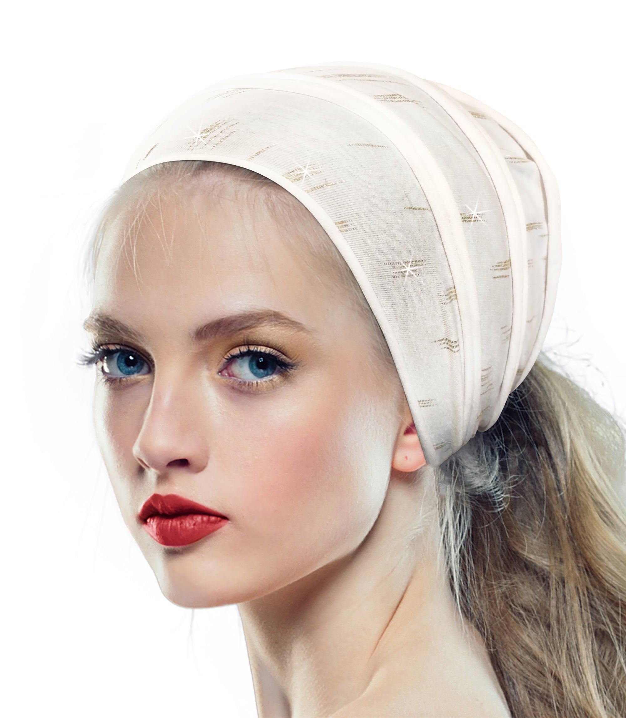White turban headband gold accent