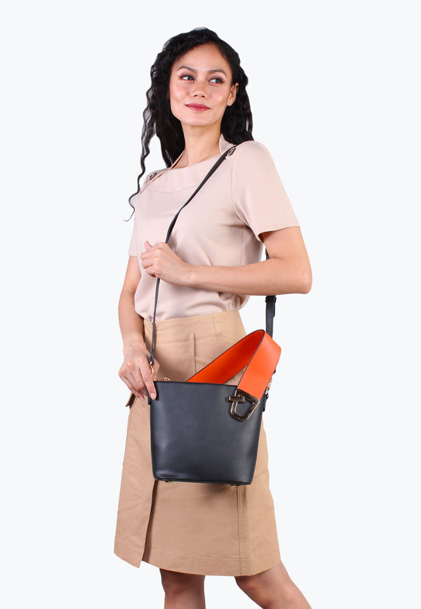 Two-Tone Asymmetrical Crossbody Bag