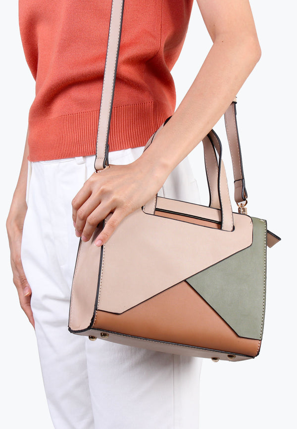 Two-Tone Top Handle Multiways Handbag