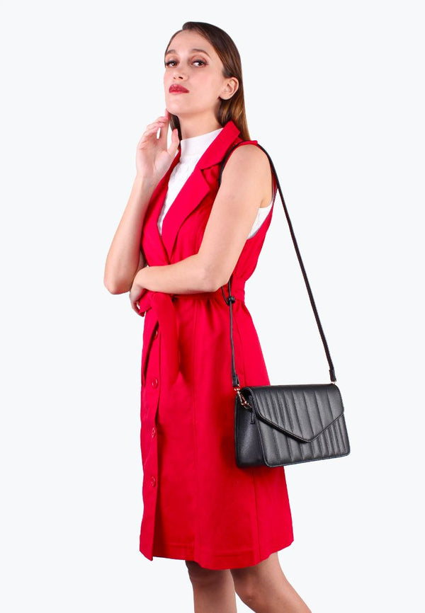 Quilted Sling Bag with Front Flap Closure