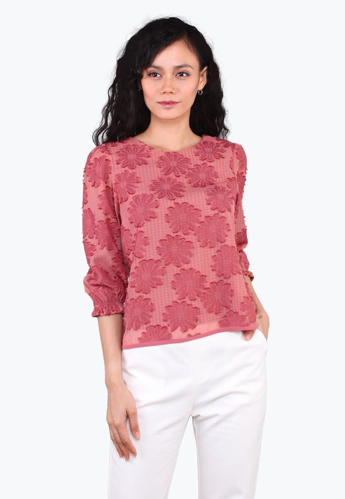 Quarter Sleeve Floral Top