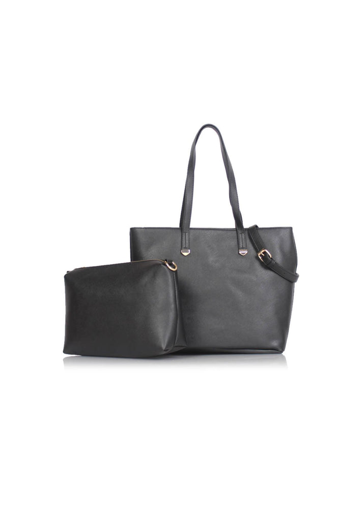 Large Casual Tote Bag with Pouch in Black