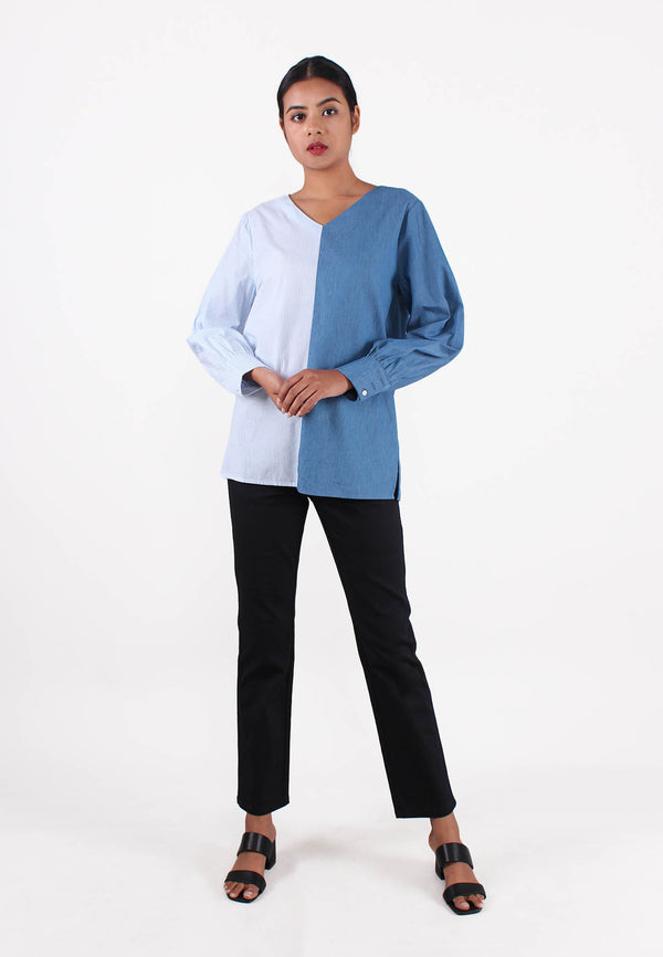 APPLEMINTS Denim V-Neck Blouse
