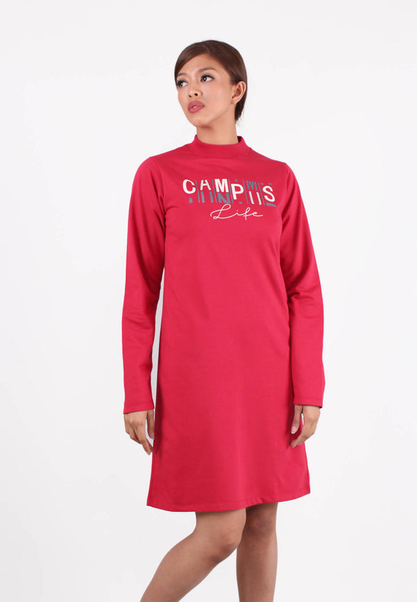 Long Sleeve ''Campus in Life'' Sweater Dress
