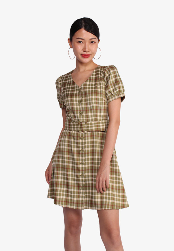 Checkered V Neck Day Dress