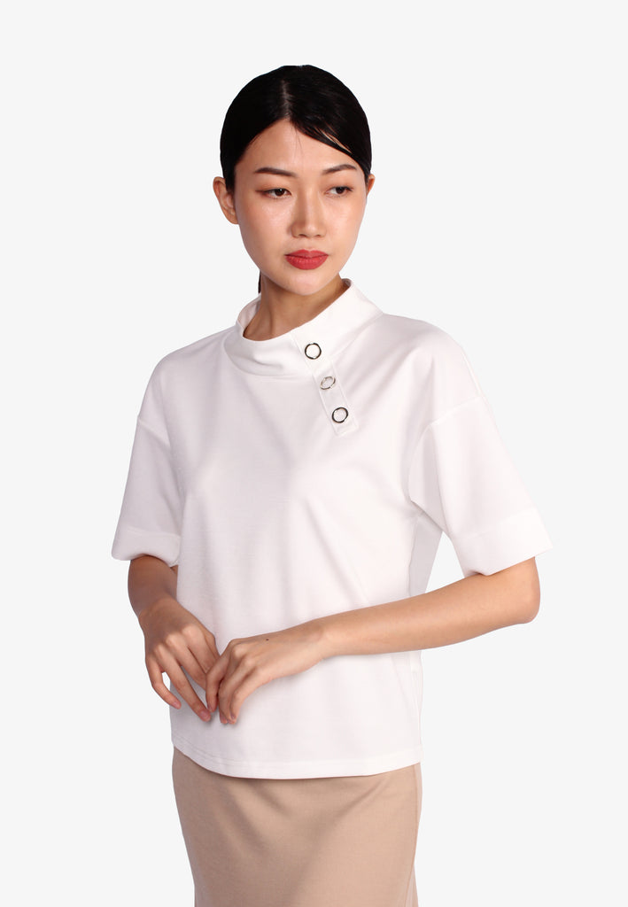SODA Asymmetrical Button Front Detail Blouse