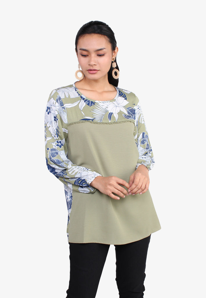 Floral Leaves Long Sleeves Blouse
