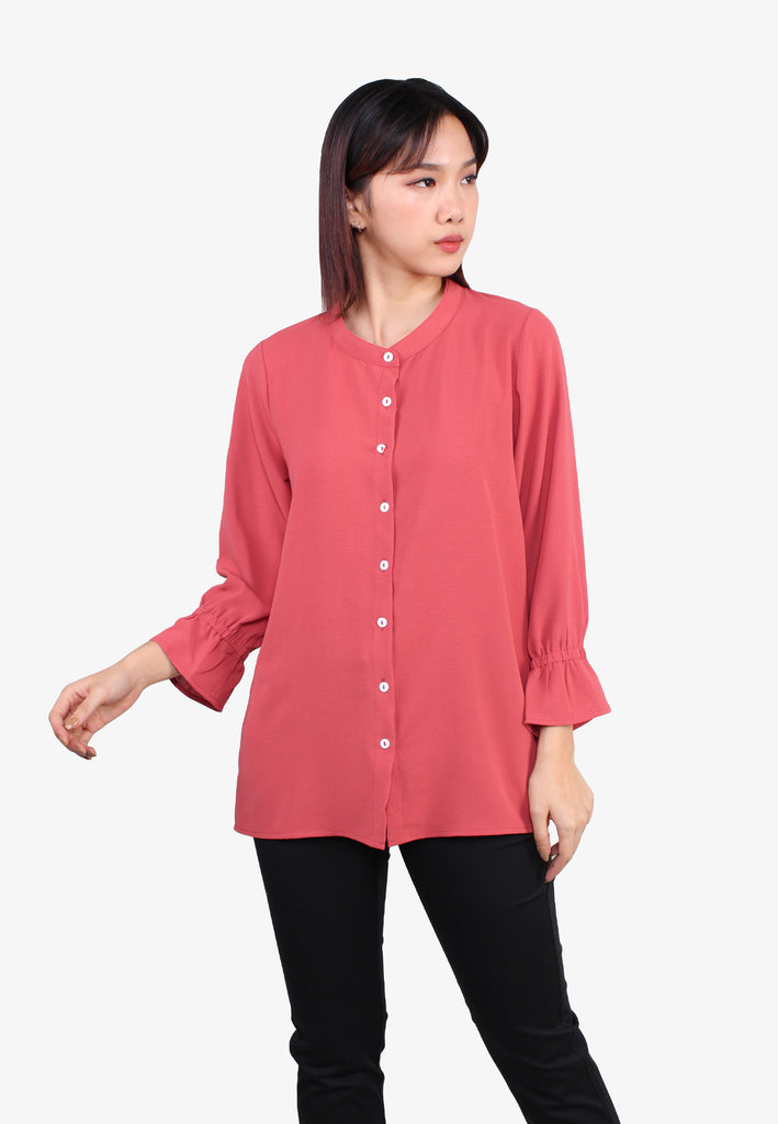 Stand Collar Front Button Blouse