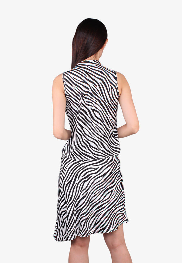 Zebra Printed Bow Neckline Top