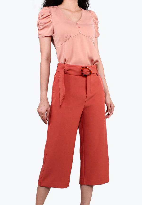 ELLE Buckle Waist Wide-Legged Pants