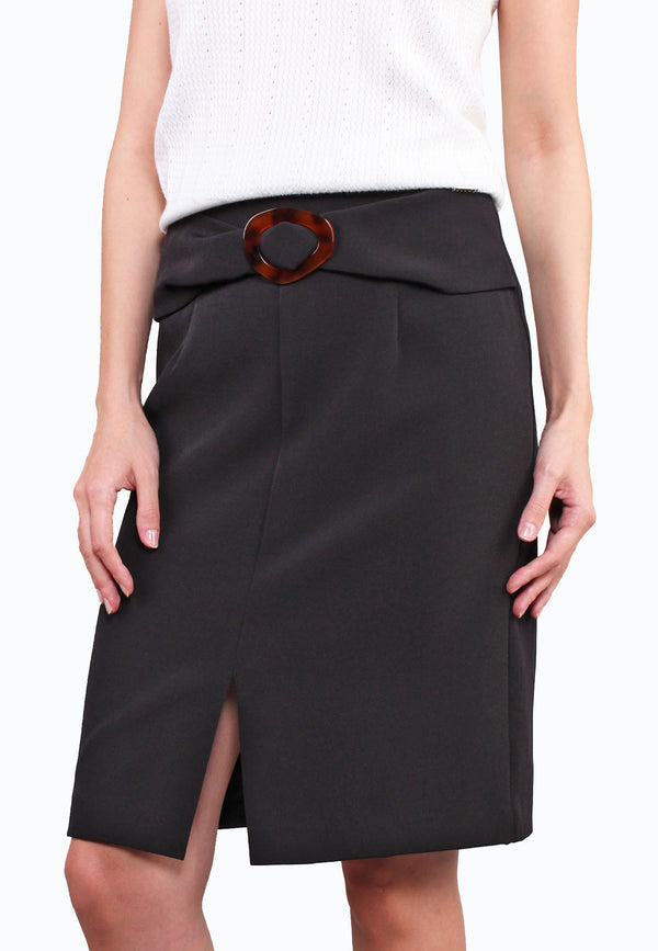 ELLE Buckle Front Slit Pencil Skirt