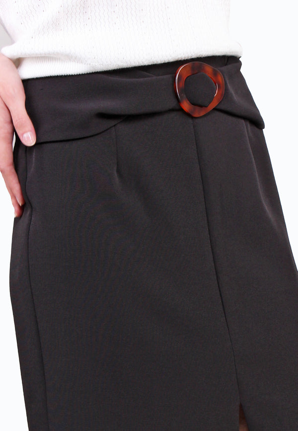 Buckle Front Slit Pencil Skirt