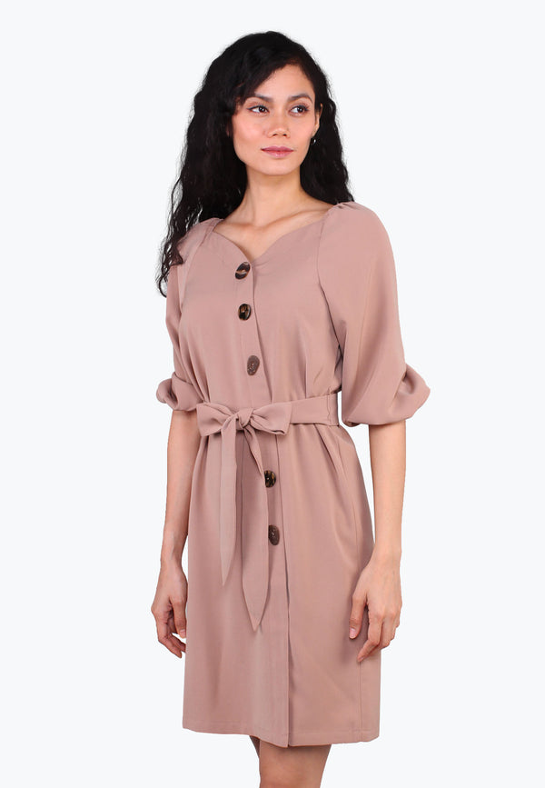 ELLE Asymmetrical Button Tie Waist Shift Dress
