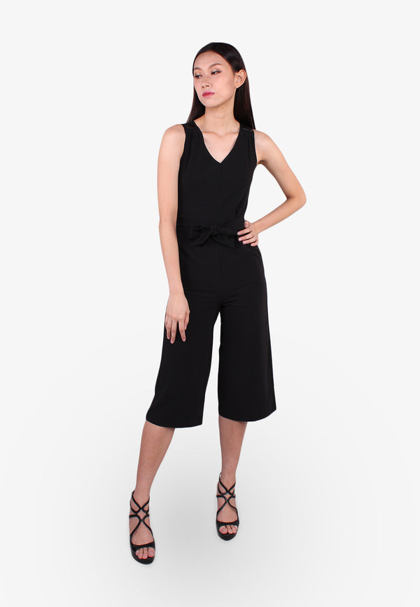 ELLE V Neck Tied Waist Jumpsuit